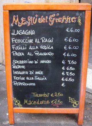 Italian menu