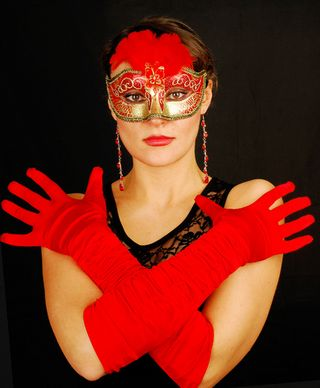 Woman in red mask