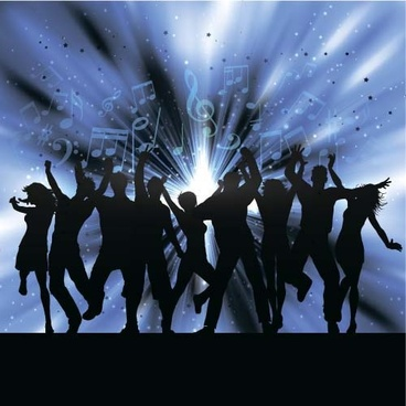 Music_party_backgrounds_with_people_silhouettes_vectors_589161